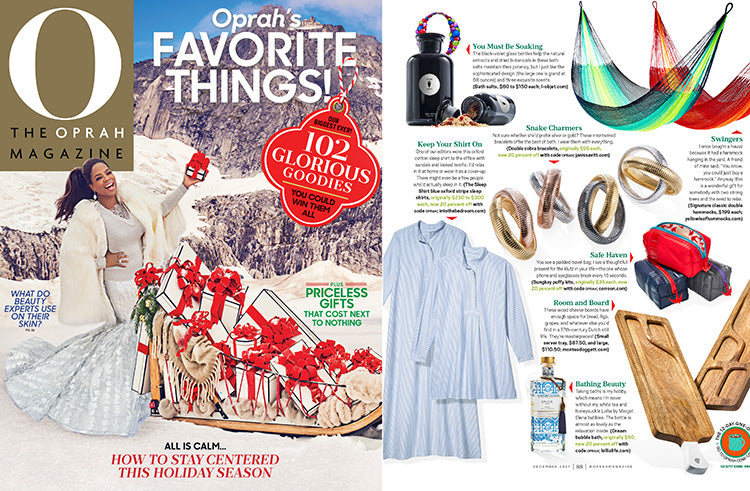 Cover of O Magazine featuring Oprah's Favorite Things 2017 including best selling short sleep shirt in blue oxford stripe cotton