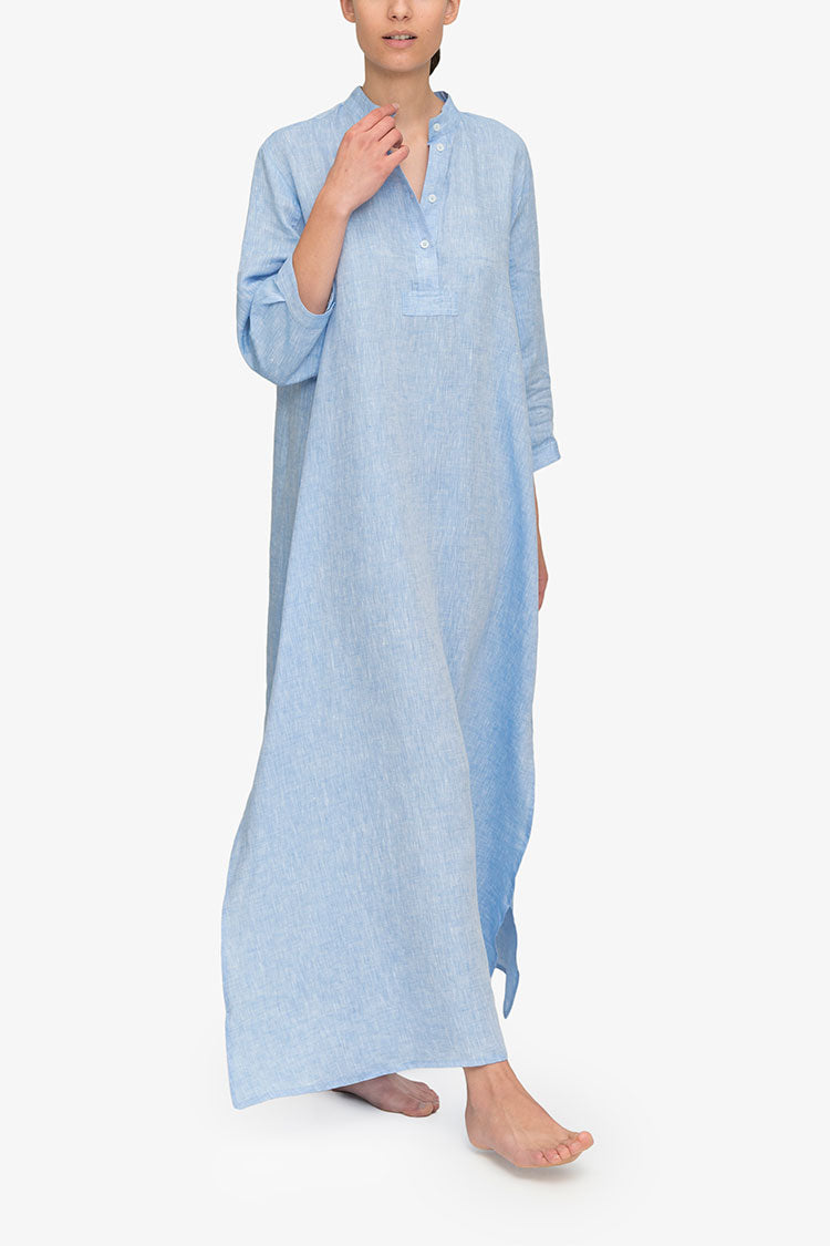 Model wearing Full Length Sleep Shirt in Ocean Linen