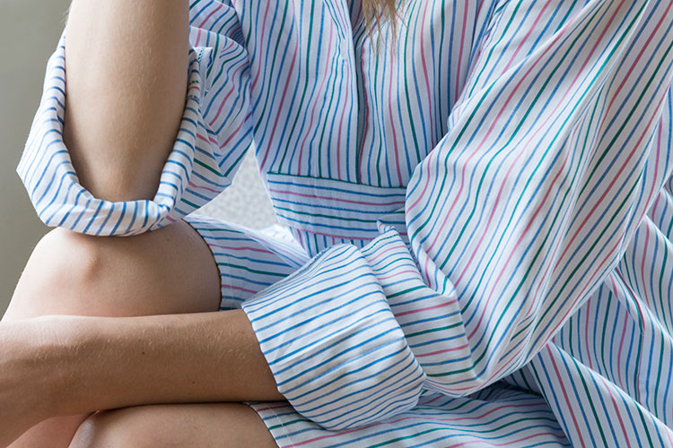 Close up of multi coloured Garden Stripe cotton in Short Sleep Shirt shape