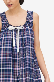 Sleeveless Nightie Navy & Pink Check