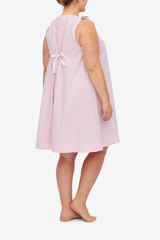Sleeveless Nightie Pink Seersucker Stripe PLUS