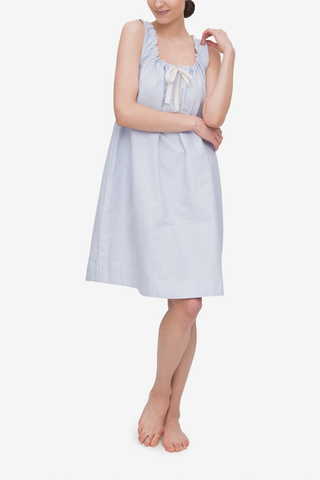front view of classic sleeveless nightie in blue oxford stripe cotton by The Sleep Shirt