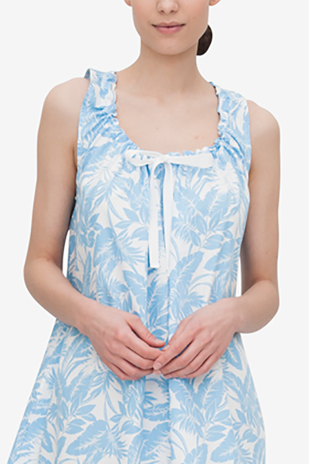 Sleeveless Nightie Blue Tropical Print
