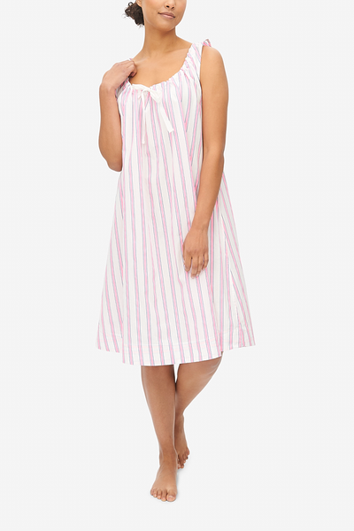 Sleeveless Nightie Fluo Pink Stripe