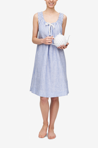front view sleeveless adjustable neckline nightie nightgown blueberry stripe linen by the Sleep Shirt