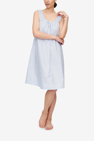 front view sleeveless adjustable neckline nightie nightgown blue and white stripe cotton by the Sleep Shirt