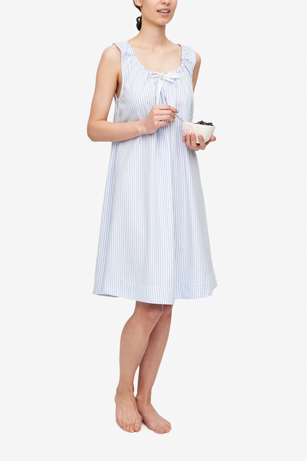 front view sleeveless adjustable neckline nightie nightgown sunday uniform blue stripe cotton by the Sleep Shirt