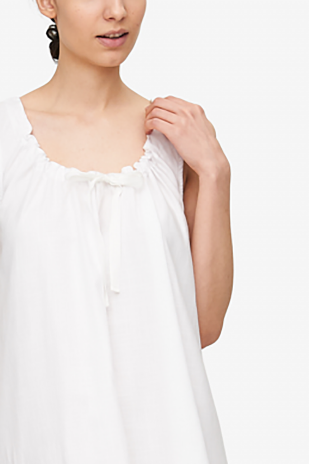 Sleeveless Nightie White Dobby