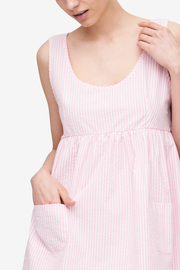 Pocket Nightie Pink Seersucker Stripe