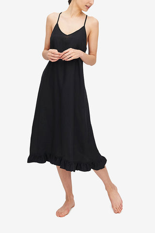 Flared Ruffle Nightie Black Linen