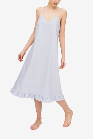 Flared Ruffle Nightie Blue Oxford Stripe