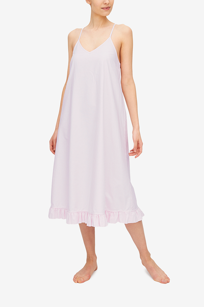 Flared Ruffle Nightie Pink Oxford Stripe