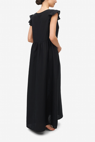 Long Flounce Sleeve Dress Black Linen