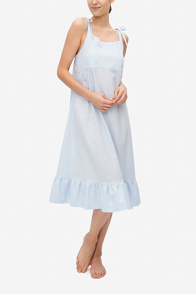 Tie Strap Dress Capri Blue Linen Blend
