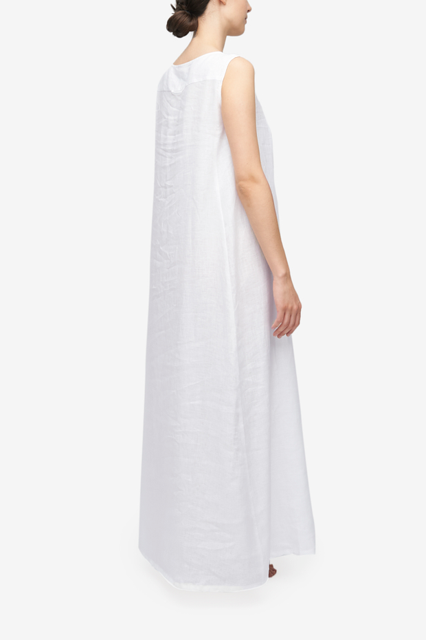 Sleeveless Full Length Dress White Linen