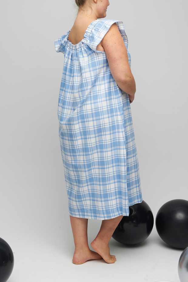 Party Nightie Blue Plaid Flannel PLUS