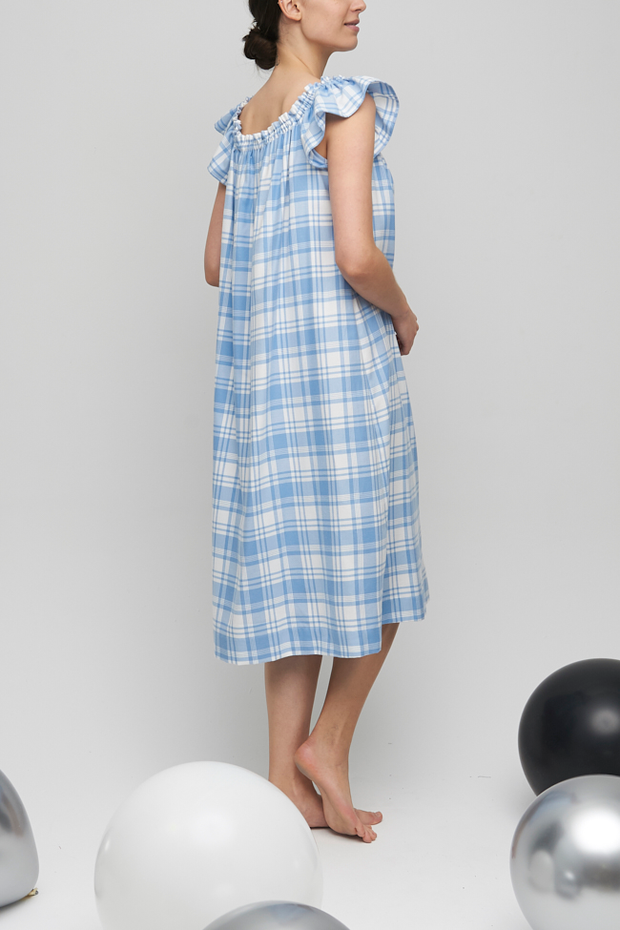 Party Nightie Blue Plaid Flannel