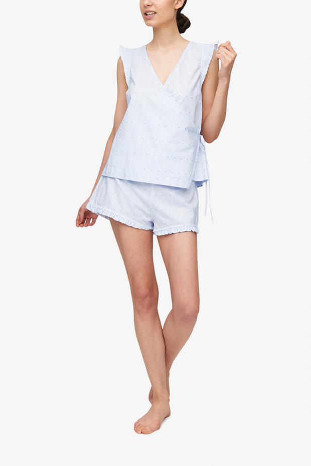 front view wrap top ruffled hem short pajama set cross blue stripe cotton by the Sleep Shirt