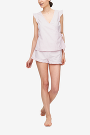 front view wrap top ruffled hem short pajama set pink oxford stripe cotton by the Sleep Shirt