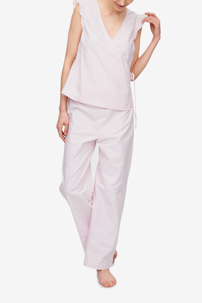 front view wrap top lounge pant pajama set pink oxford stripe cotton by the Sleep Shirt