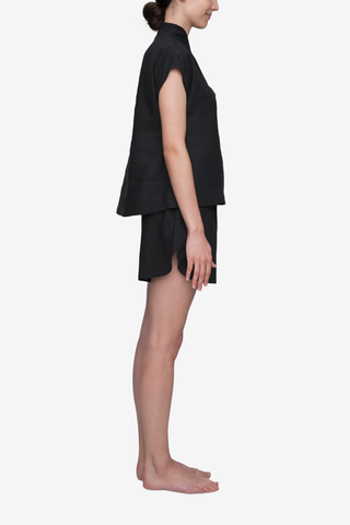 Set - Shawl Collar Top & Curved Hem Short Black Linen