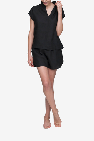 front view t-shirt top short with drawstring shorts pajama set black linen by the Sleep Shirt