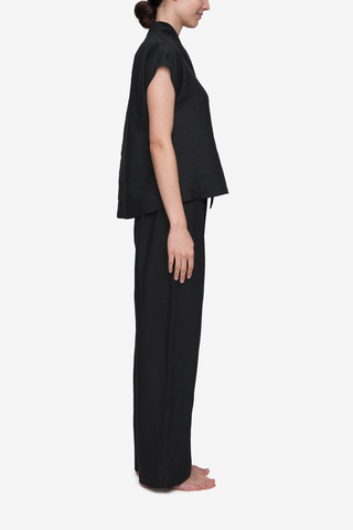 Set - Shawl Collar Top & Lounge Pant Black Linen