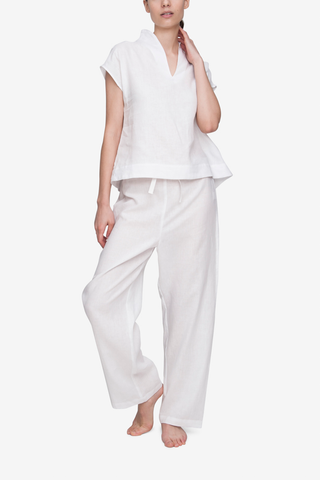 front view t-shirt top short with lounge pants pajama set white linen by the Sleep Shirt