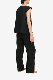 Set - Crossover Top and Lounge Pant Black Linen