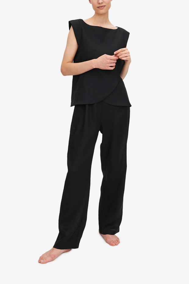front view crossover top lounge pant in black linen by The Sleep Shirt
