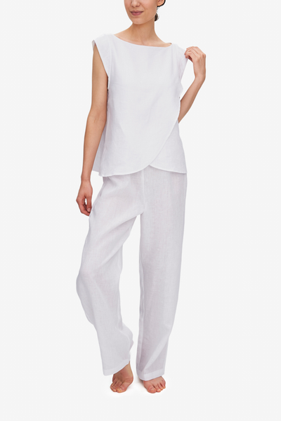 Set - Crossover Top and Lounge Pant White Linen
