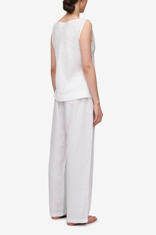 Set - Bias Cut Top & Lounge Pant White Linen