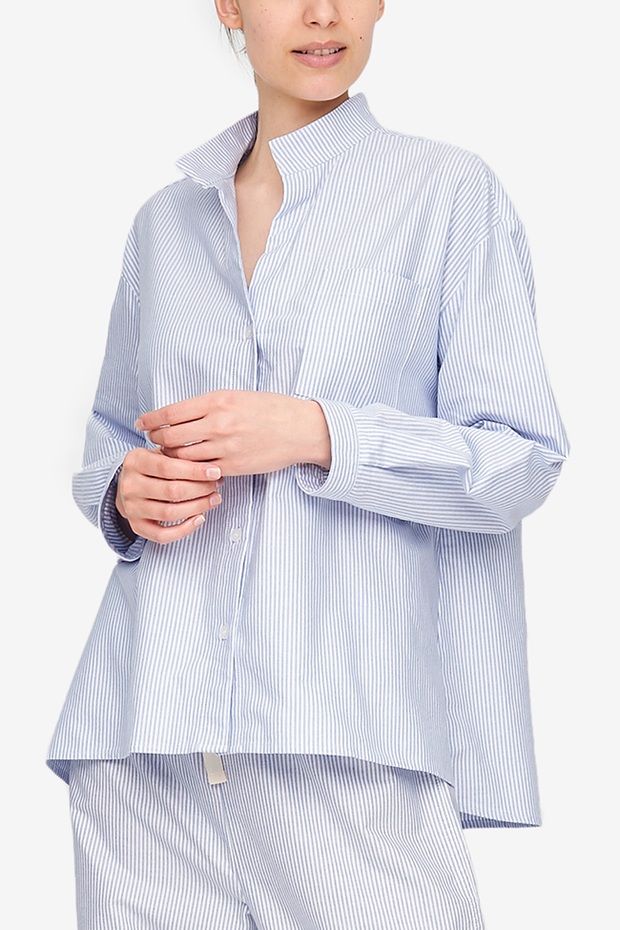 Long Sleeve Shirt Blue Oxford Stripe