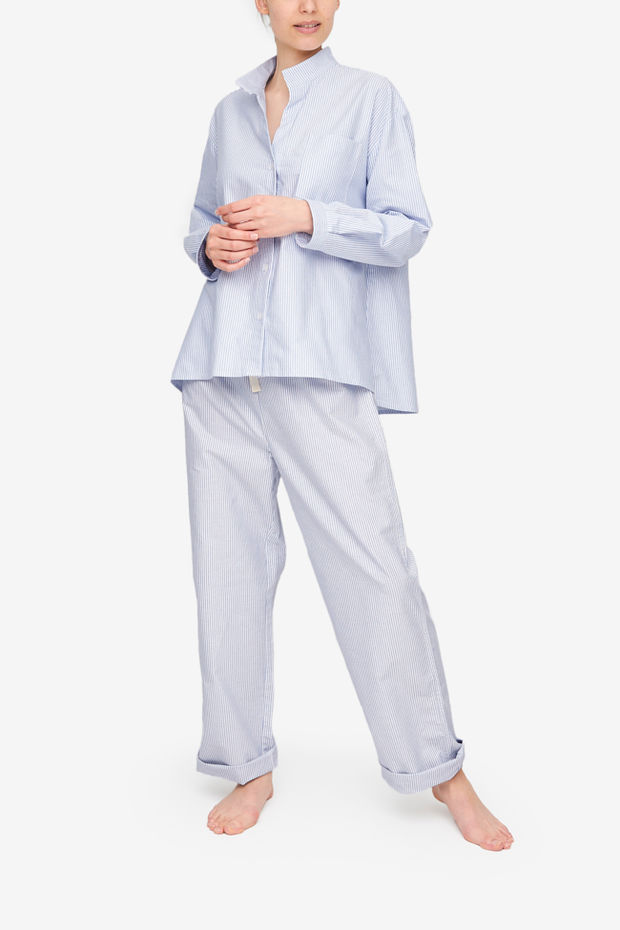 Set - Long Sleeve Shirt and Lounge Pant Blue Oxford Stripe