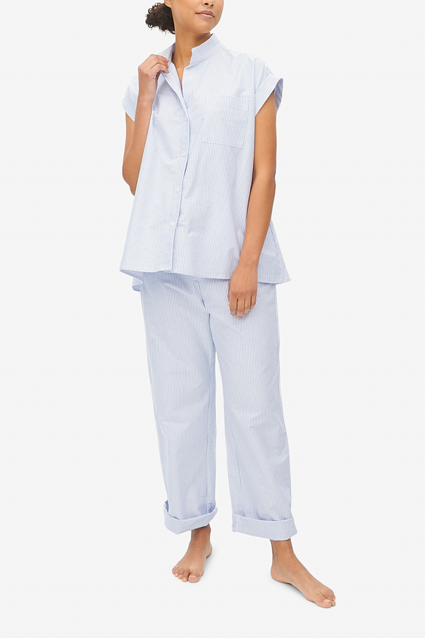 Set - Cuffed Sleeve Shirt and Lounge Pant Blue Oxford Stripe