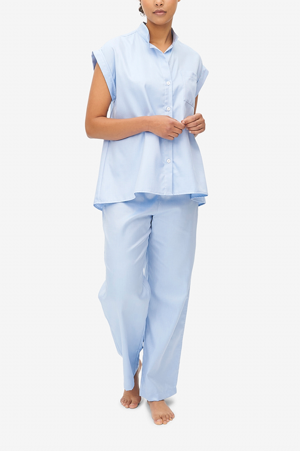 Set - Cuffed Sleeve Shirt and Lounge Pant Periwinkle Twill