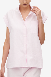 Cuffed Sleeve Shirt Pink Seersucker