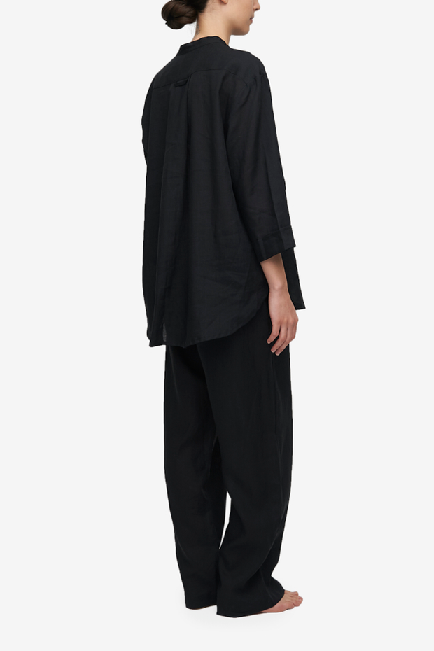 Set - Slip On Top and Lounge Pant Black Linen