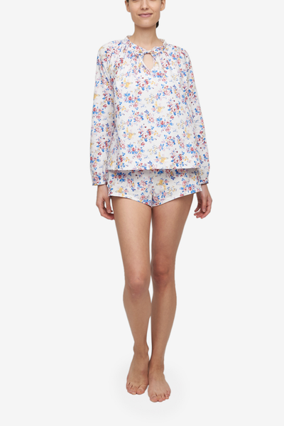 Set - Gathered Neck Top and Classic Short Summer Floral