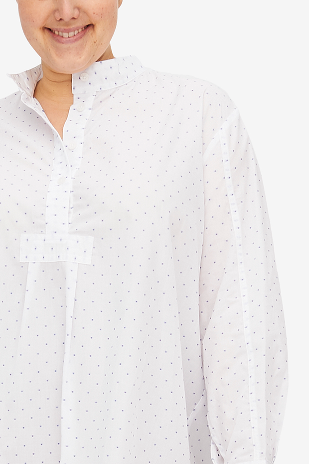 Short Sleep Shirt Blue Saturn Dot PLUS