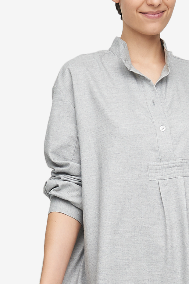 Short Sleep Shirt Grey Twill Cashmere Blend