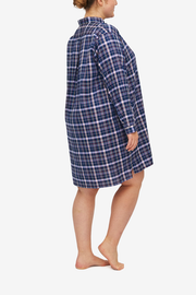 Short Sleep Shirt Navy & Pink Check PLUS