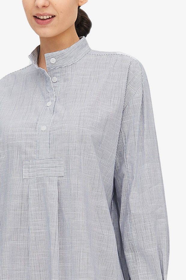 Short Sleep Shirt Navy Pinstripe