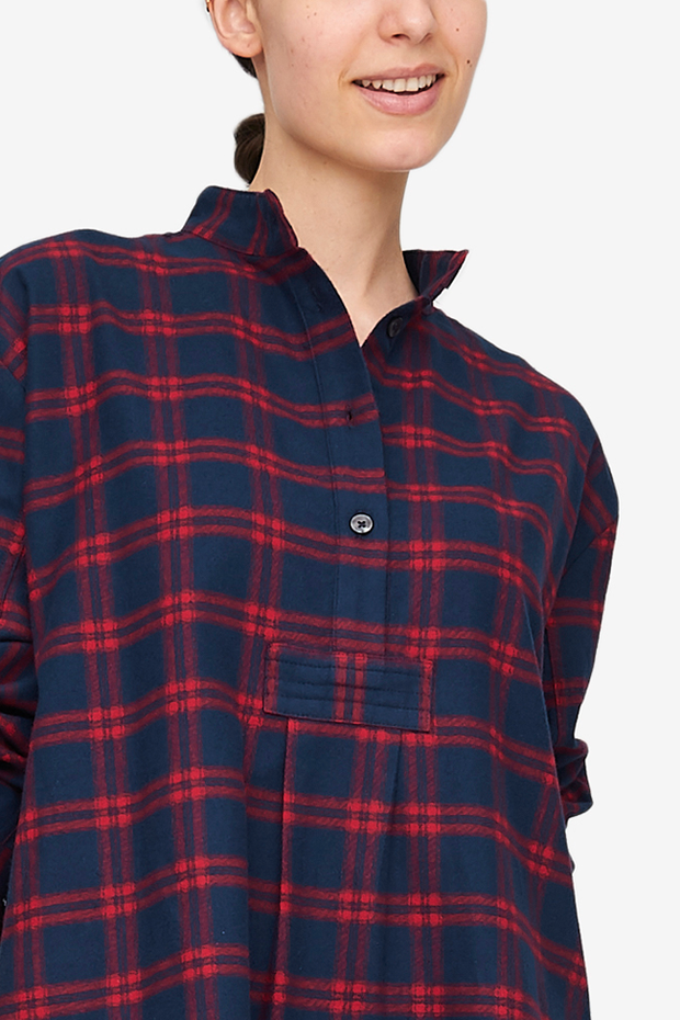 Short Sleep Shirt Red & Navy Check Flannel
