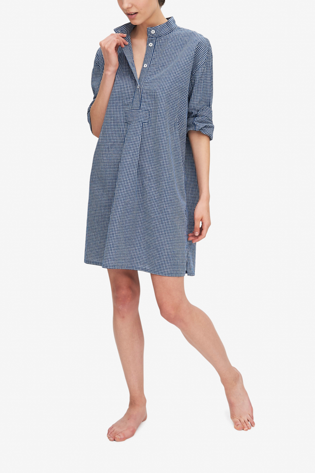front view classic short sleep shirt blue check linen cotton blend by the Sleep Shirt