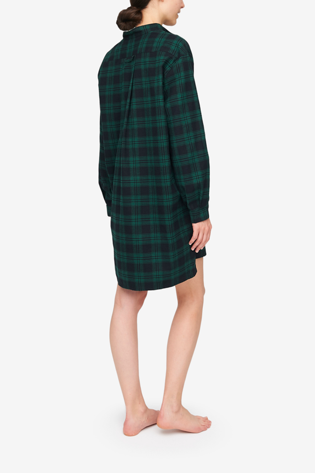 Short Sleep Shirt Green Check Flannel