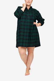 Short Sleep Shirt Green Check Flannel PLUS