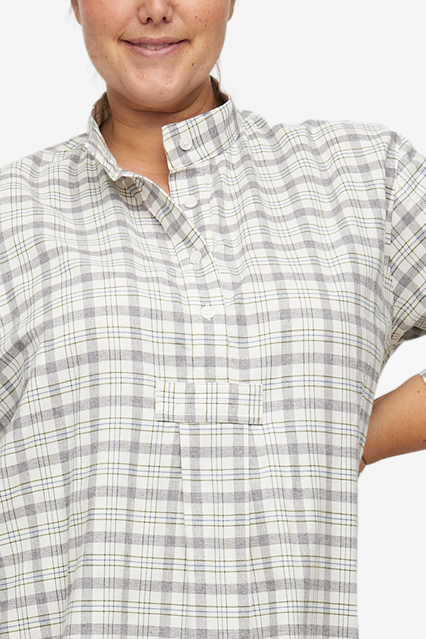 Short Sleep Shirt Grey Plaid Flannel PLUS