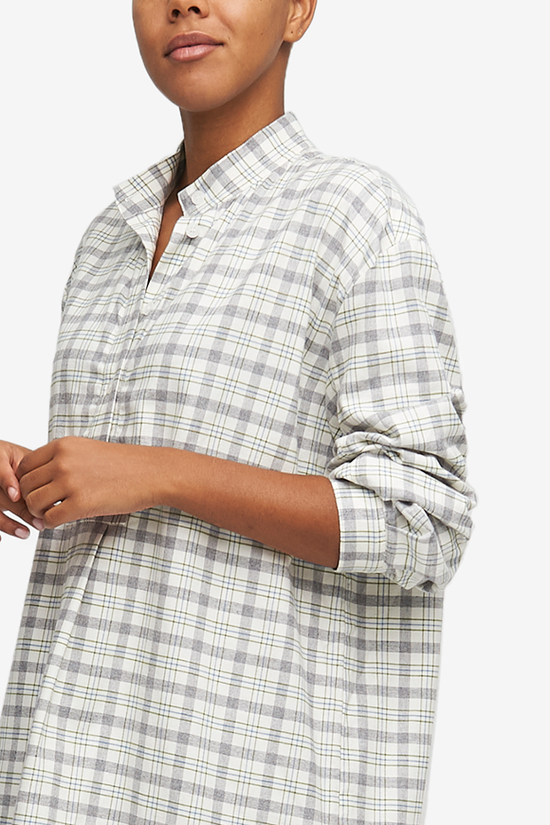Short Sleep Shirt Grey Plaid Flannel