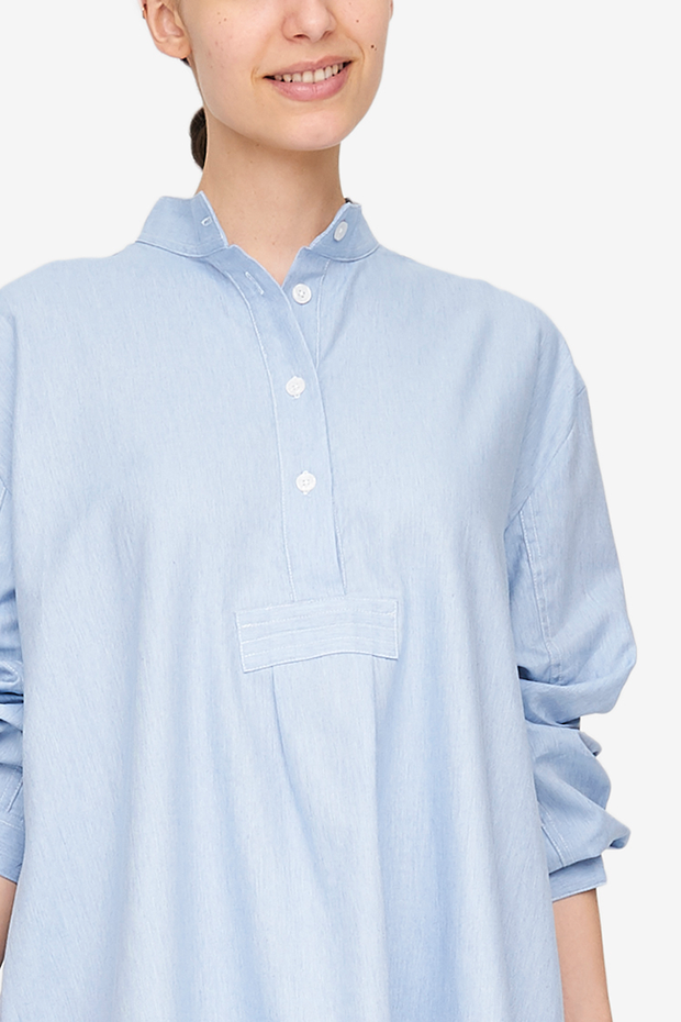 Short Sleep Shirt Light Blue Twill